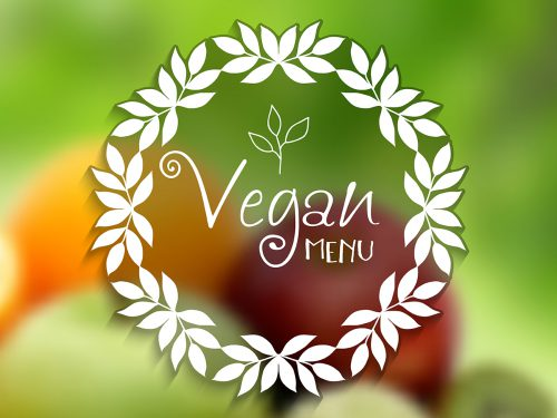 Decorative vegan menu design with defocussed image of fruit